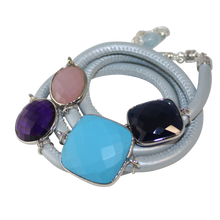 Load image into Gallery viewer, Sky Blue Italian Wrap Leather Bracelet With Faceted Turquoise, Blue Onyx, Pink Chalcedony & Amethyst Quartz