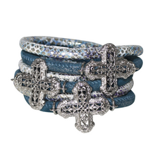 Load image into Gallery viewer, Snake Aqua Blue Italian Wrap Leather Bracelet With Rhodium Plated Crosses