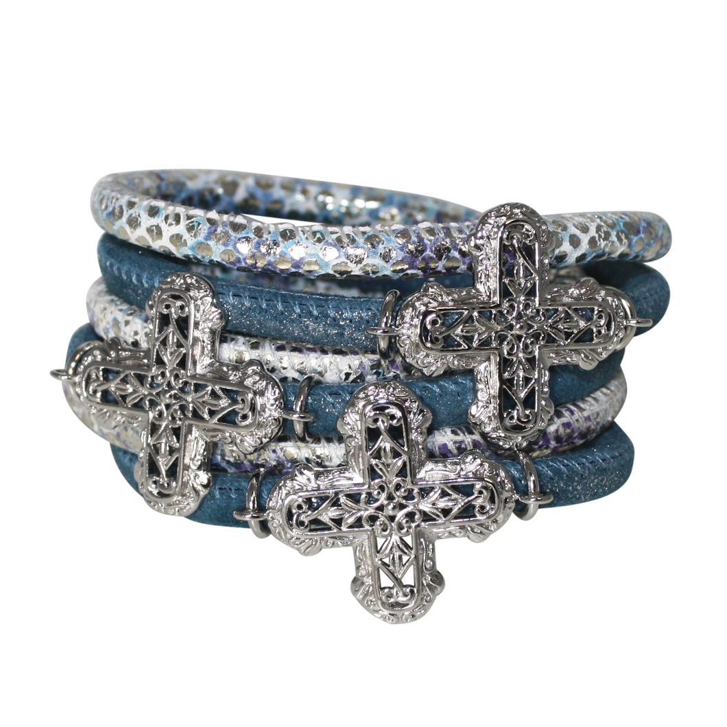 Snake Aqua Blue Italian Wrap Leather Bracelet With Rhodium Plated Crosses