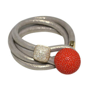 Soft Gold Shimmer Italian Wrap Leather Bracelet With CZ Slider & Orange Stingray Sphere