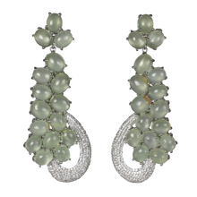 Load image into Gallery viewer, SUPER Long Cabochon Prehnite Earrings