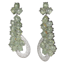 Load image into Gallery viewer, SUPER Long Cabochon Prehnite Earrings - DIDAJ