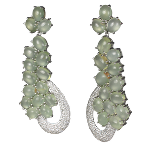 SUPER Long Cabochon Prehnite Earrings
