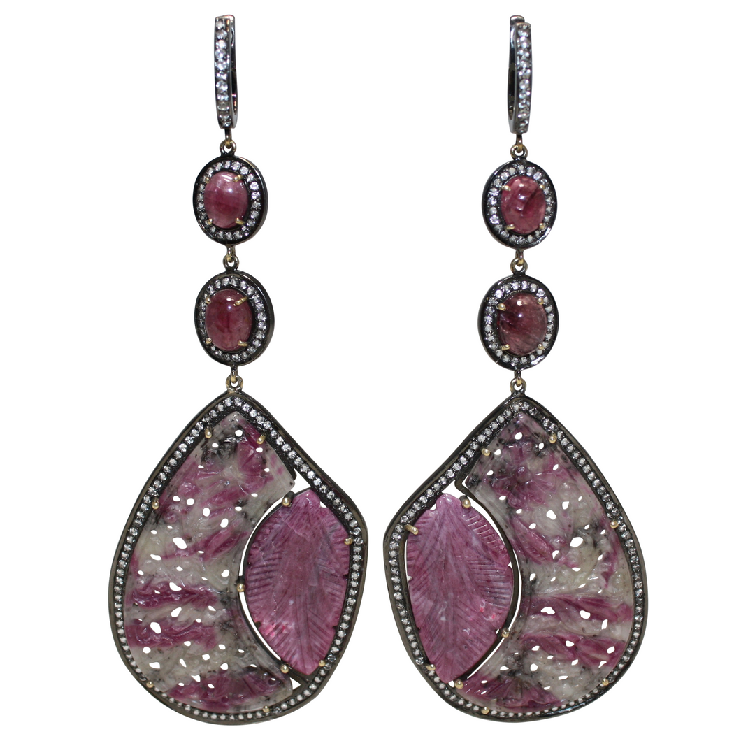 SUPER Long Curved Ruby and Pink Cabochon Tourmaline Earrings - DIDAJ