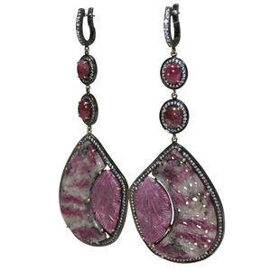 SUPER Long Curved Ruby and Pink Cabochon Tourmaline Earrings