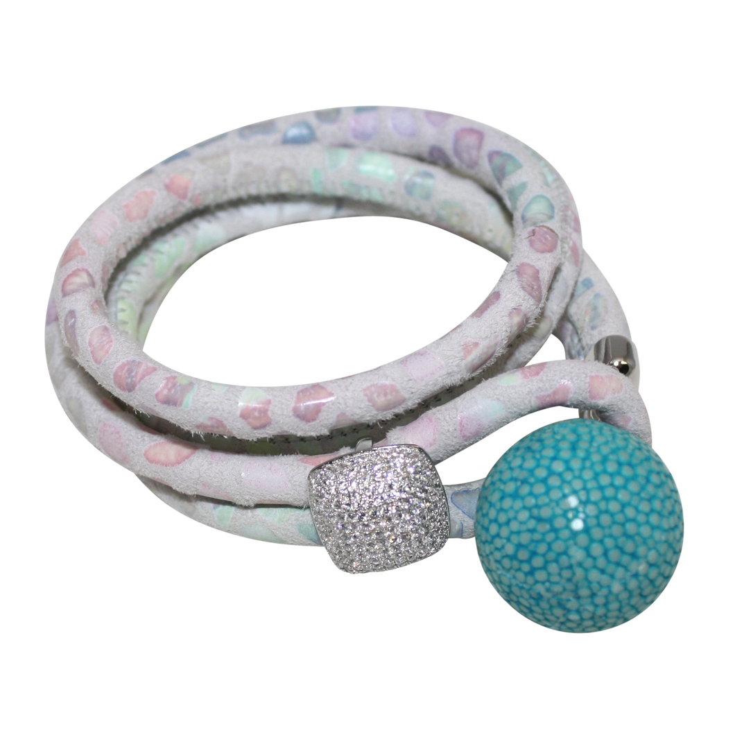 White, Pink & Lavender Italian Wrap Leather Bracelet With CZ Slider & Turquoise Stingray Sphere - DIDAJ