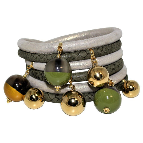 Forest Green & Soft Gold Italian Wrap Leather Bracelet With Lacquer Buffalo Horn Charms