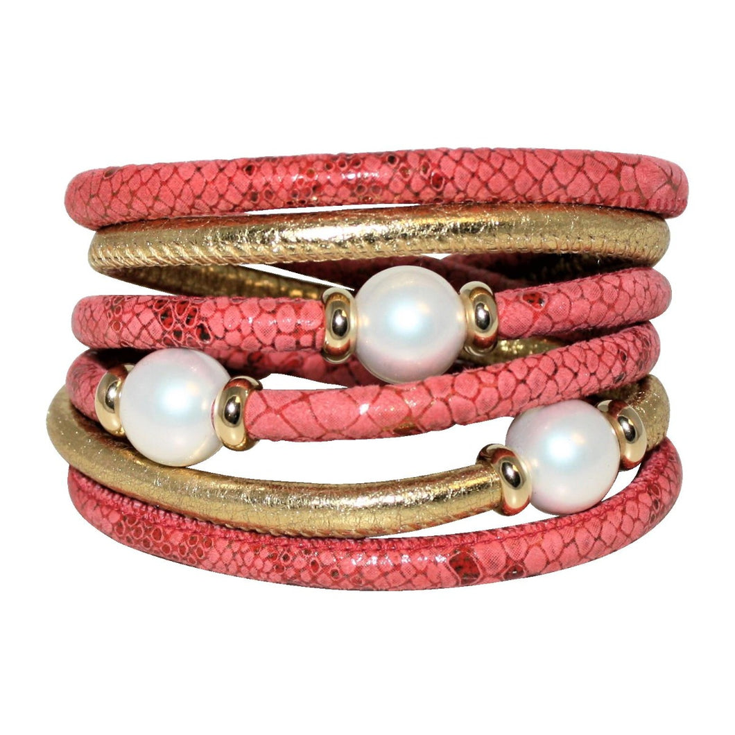 Gold & Coral Snake Texture Italian Wrap Leather Bracelet With Mother of Pearls