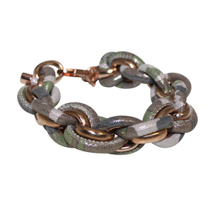 Camouflage Italian Leather & Chain Bracelet