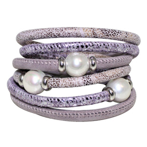 Lavender Mouve & Silver Snake Texture Italian Wrap Leather Bracelet With Mother of Pearls