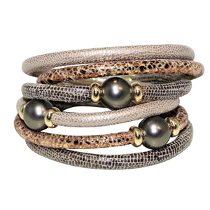Light & Dark Beige With Copper Snake Texture Italian Wrap Leather Bracelet With Mother of Pearls