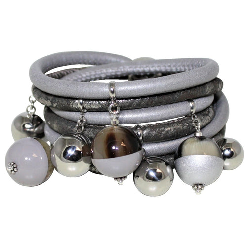 Light & Dark Grey With Silver Accents Italian Wrap Leather Bracelet With Lacquer Buffalo Horn Charms
