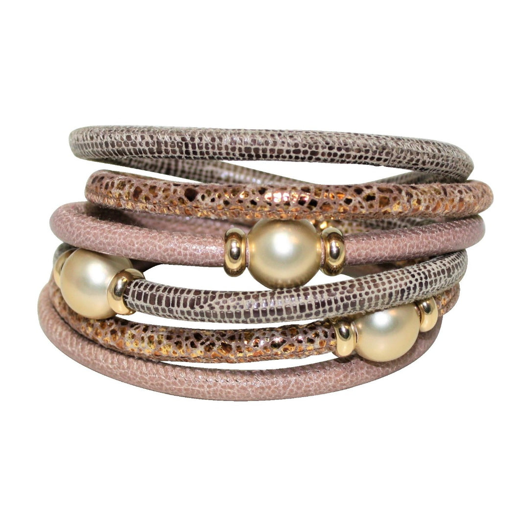 Natural, Beige & Gold Snake Texture Italian Wrap Leather Bracelet With Mother of Pearls