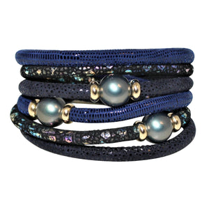 Navy & Metallic Snake Texture Italian Wrap Leather Bracelet With Mother of Pearls