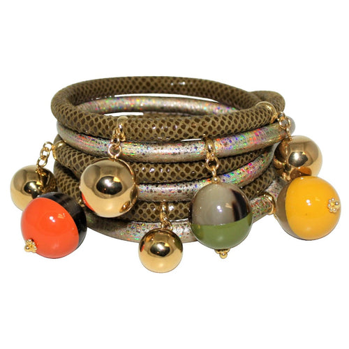 Olive & Gold Italian Wrap Leather Bracelet With Lacquer Buffalo Horn Charms