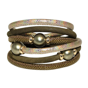 Olive Green & Gold Snake Texture Italian Wrap Leather Bracelet With Mother of Pearls