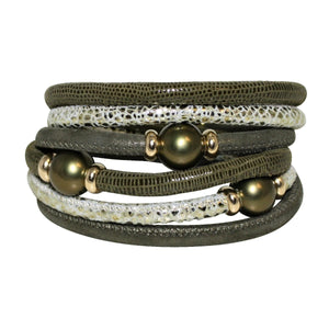 Olive Green & Silverish Gold Snake Texture Italian Wrap Leather Bracelet With Mother of Pearls