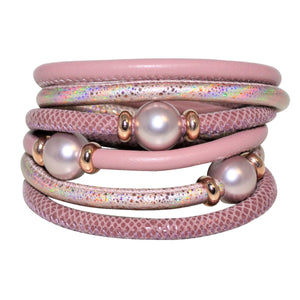 Pink, Mouve & Rose Gold Snake Texture Italian Wrap Leather Bracelet With Mother of Pearls