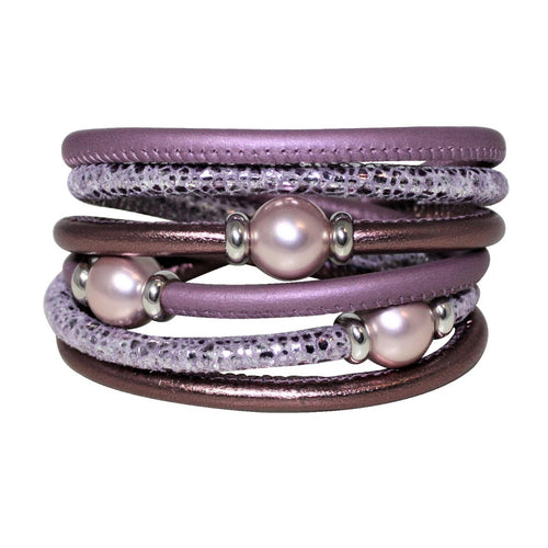 Purplish Mouve & Silver Snake Texture Italian Wrap Leather Bracelet With Mother of Pearls