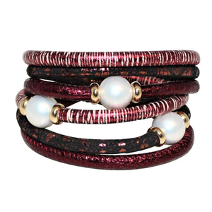 Rasberry Glitter & Copper Snake Texture Italian Wrap Leather Bracelet With Mother of Pearls