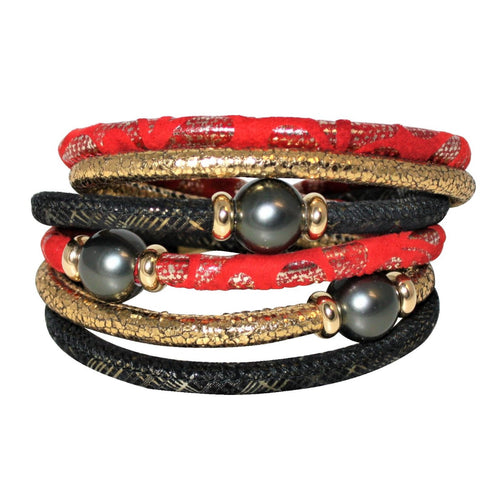 Red, Black & Gold Snake Texture Italian Wrap Leather Bracelet With Mother of Pearls