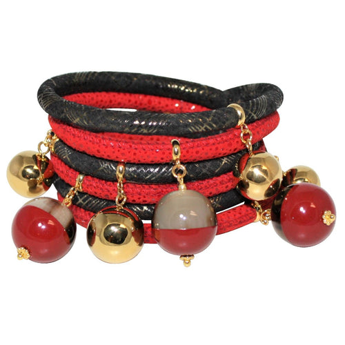 Red & Black Italian Wrap Leather Bracelet With Lacquer Buffalo Horn Charms - DIDAJ