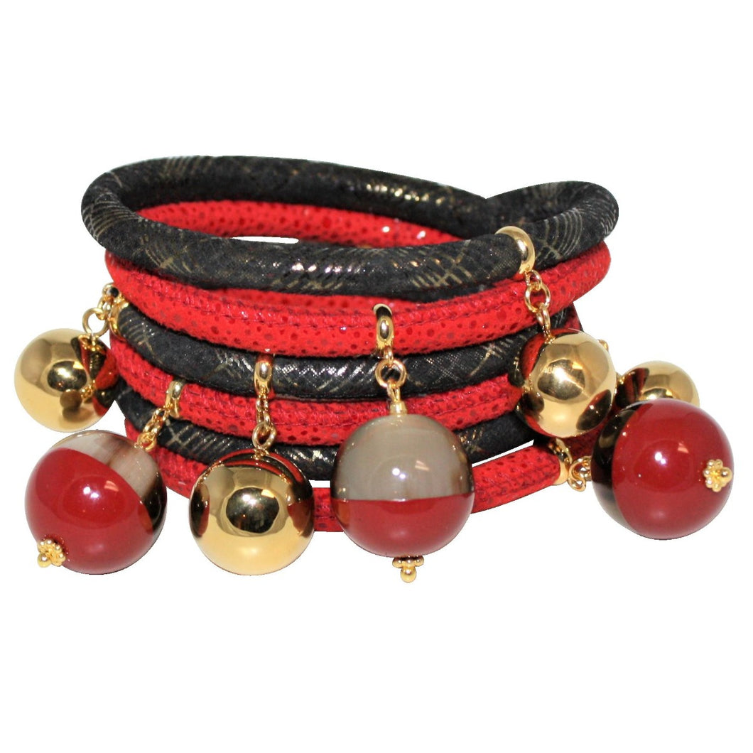 Red & Black Italian Wrap Leather Bracelet With Lacquer Buffalo Horn Charms
