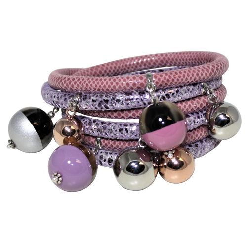 Rose Move & Lavender Silver Italian Wrap Leather Bracelet With Lacquer Buffalo Horn Charms