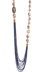 ROYAL DIDAJ Long Multi-Strand Faceted Sapphire Necklace with Natural Baroque Pearl, Ruby, Multi-Color Sapphires and Diamonds Accents