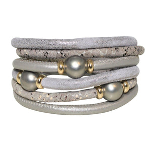 Satin Grey & Beige Snake Texture Italian Wrap Leather Bracelet With Mother of Pearls