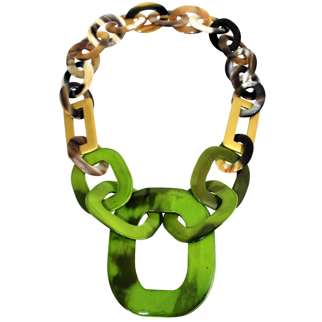 Buffalo Horn with Lacquer Necklace-White Horn with Olive Green and Gold Lacquer