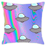 Aliens Space Holographic Throw Pillow Cover