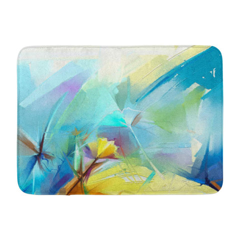 Abstract Colorful Oil Canvas Flowers Yellow and Red Bath Mats