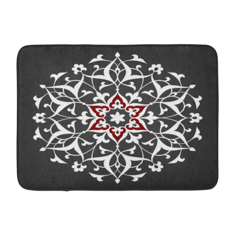 Abstract Floral Mandala Round Ornament Arabic Arabesque Bath Mats