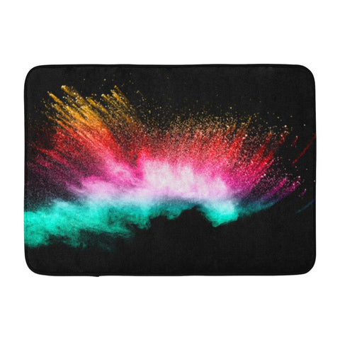 Abstract Bright Colorful Powder Black Multicolor Clouds Bath Mats