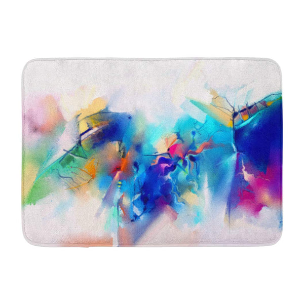 Abstract Colorful Oil Canvas Brush Stroke Color Modern Bath Mats