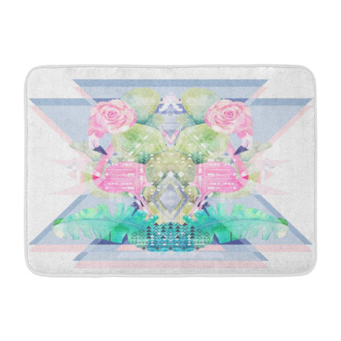 Abstract Geometric with Watercolor Flamingo Cactus Rose and Bath Mats