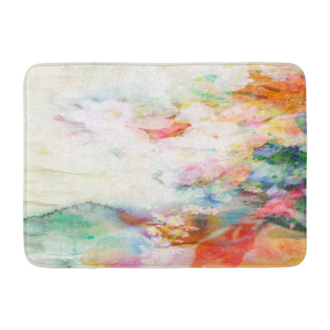 Abstract Ink with Flowers Water Pastel Flower Bath Mats