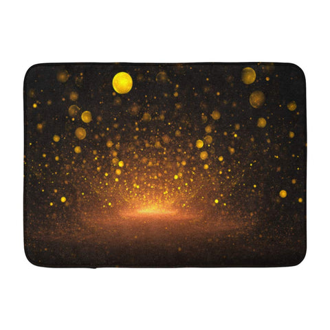 Abstract Golden Drops Black Fantasy Fractal Art Liquid Bath Mats
