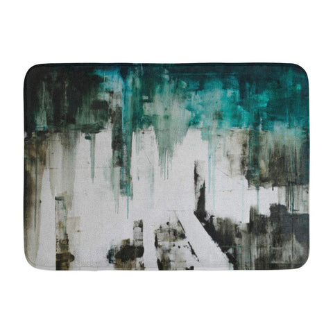 Abstract Art Watercolor Grunge Oil Water Bath Mats