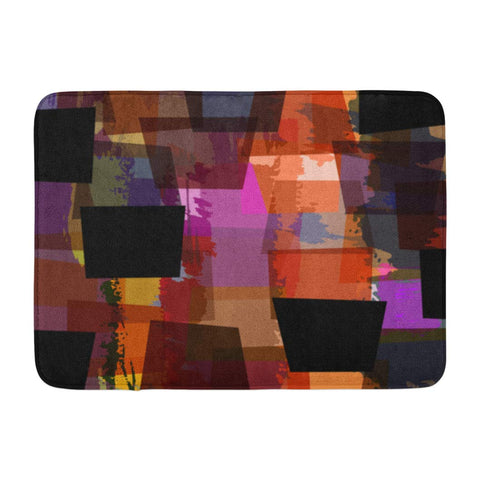 Abstract Geometric Colorful with Strokes and Splashes Bath Mats