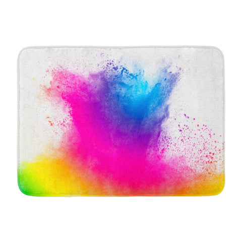 Abstract Bright Colorful Powder White Multicolor Clouds Bath Mats