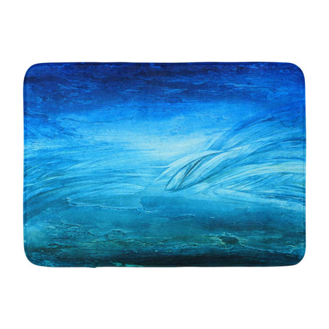 Abstract Blue Oil Art Brush Acrylic Bath Mats