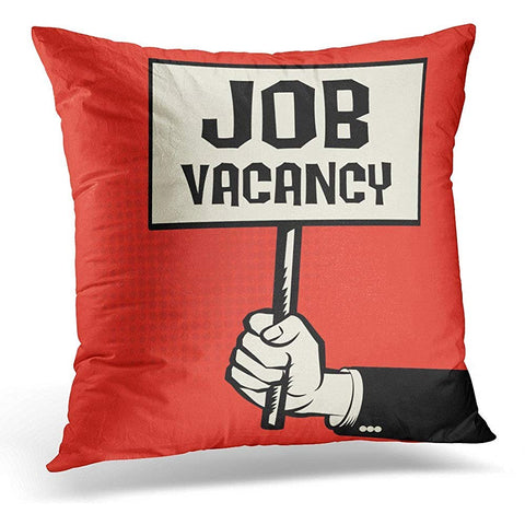 Alert in Hand Concept with Text Job Vacancy Throw Pillow Cover