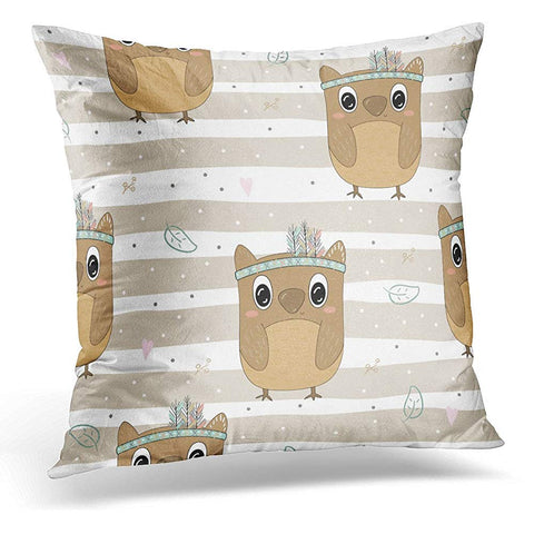 Aboriginal Hand Drawn Cute with Owl American Throw Pillow Cover