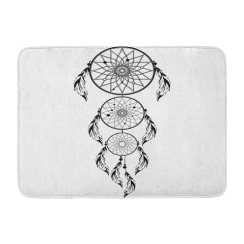 Abstract Colorful Dreamcatcher with Feathers Boho Chic Bath Mats