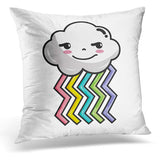 Adorable Rogue Cloud Kawaii with Rainbow Design Beauty Throw Pillow Cover