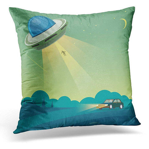 Abduction UFO Abducts Human from Car Alien Throw Pillow Cover