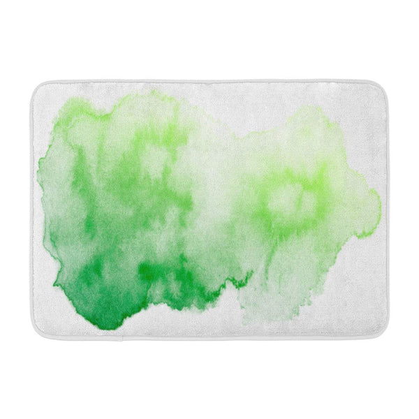 Abstract Green Watercolor White Color Splashing Bath Mats