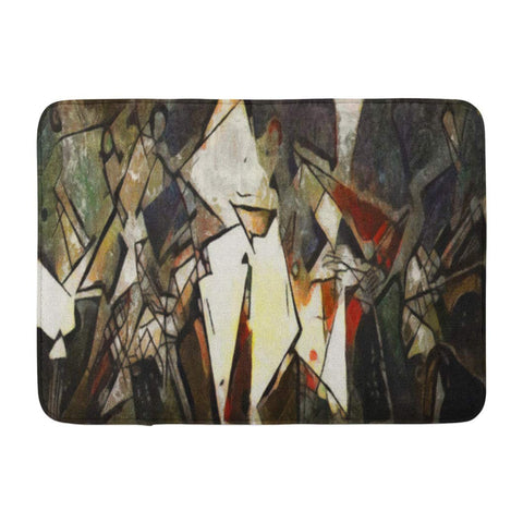 Abstract Geometric Oil Canvas with Pastel Acrylic Art Nouveau Bath Mats